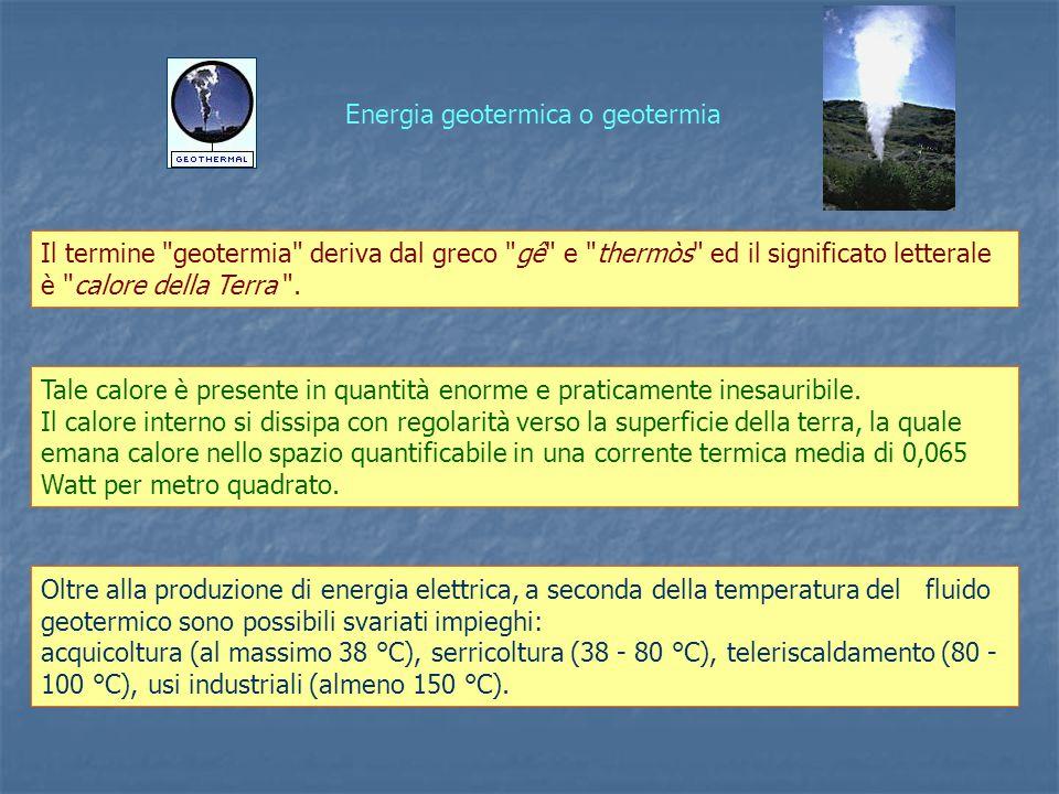 Energia geotermica o geotermia Il termine geotermia deriva dal greco gê e thermòs ed il significato letterale è calore della Terra .