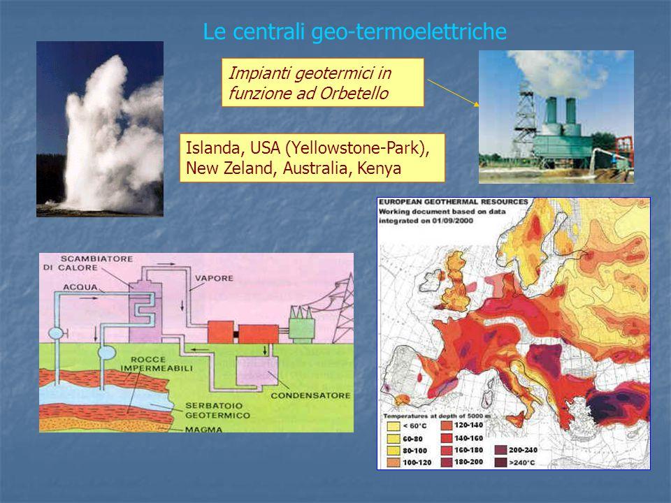 Islanda, USA (Yellowstone-Park), New Zeland, Australia, Kenya Le centrali geo-termoelettriche Impianti geotermici in funzione ad Orbetello