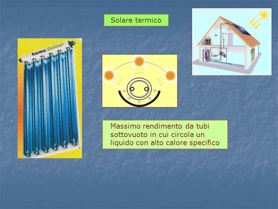 Solare termico Massimo rendimento da tubi sottovuoto in cui circola un liquido con alto calore specifico