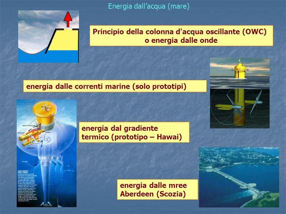 Energia dall'acqua (mare) Principio della colonna d acqua oscillante (OWC) o energia dalle onde energia dalle correnti marine (solo prototipi) energia dal gradiente termico (prototipo – Hawai) energia dalle mree Aberdeen (Scozia)