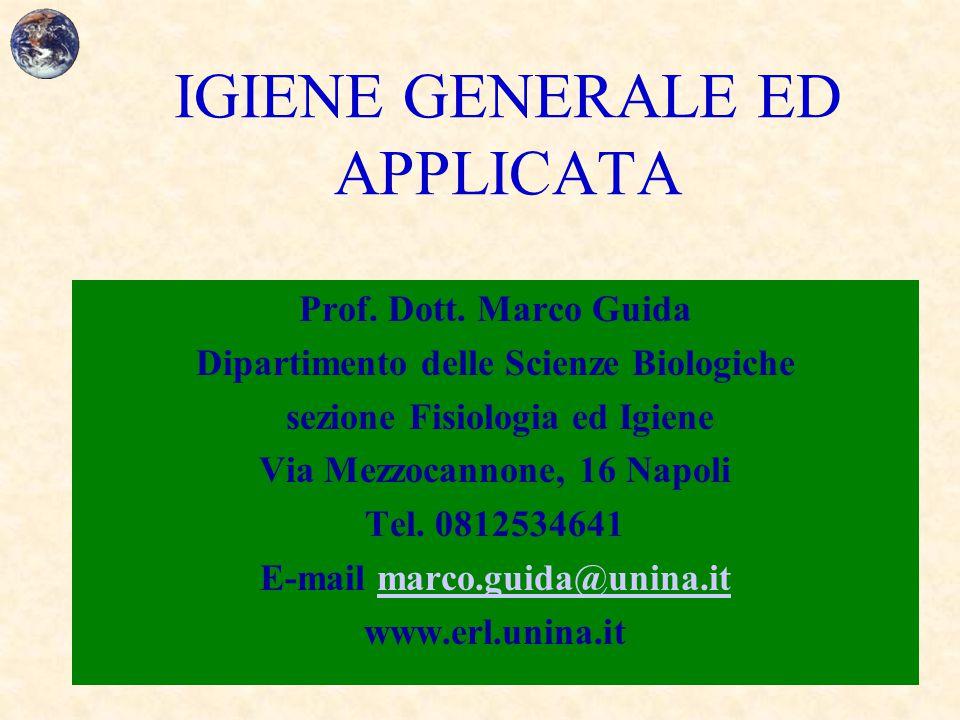 IGIENE GENERALE ED APPLICATA Prof. Dott. Marco Guida Dipartimento delle Scienze Biologiche sezione Fisiologia ed Igiene Via Mezzocannone, 16 Napoli Te