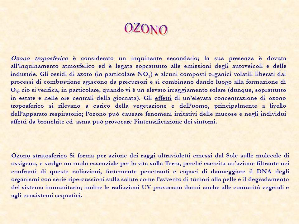 Ozono troposferico è considerato un inquinante secondario; la sua presenza è dovuta all'inquinamento atmosferico ed è legata soprattutto alle emission