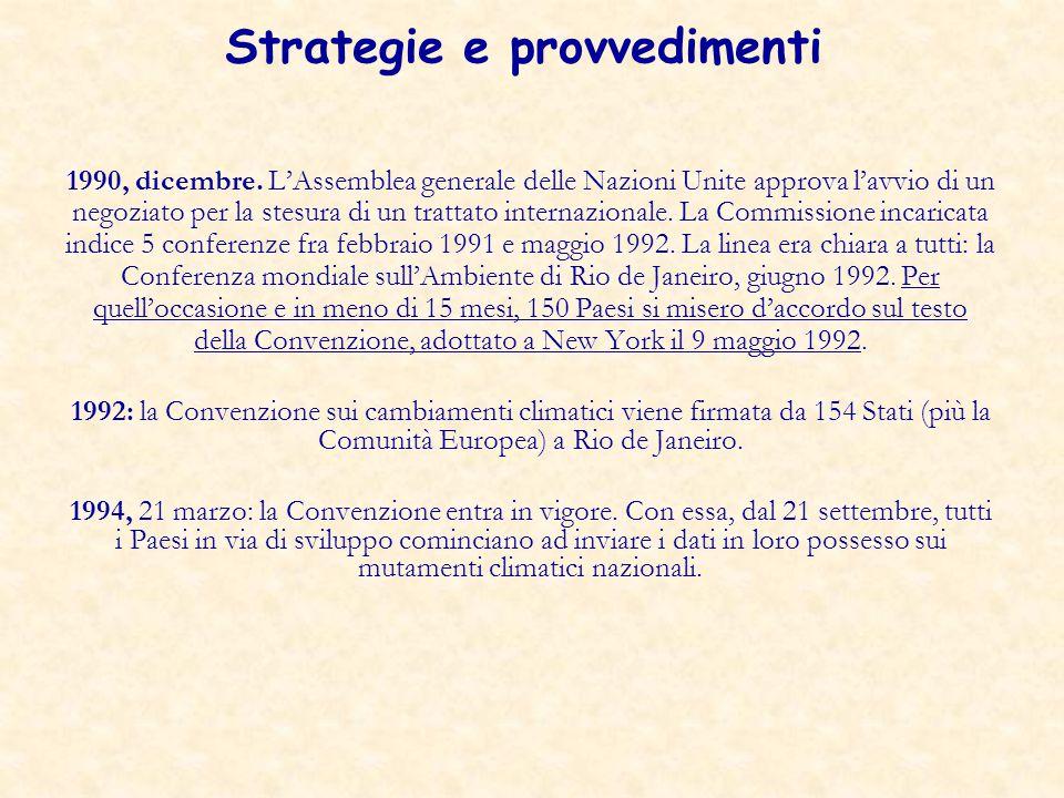 Strategie e provvedimenti 1990, dicembre. L'Assemblea generale delle Nazioni Unite approva l'avvio di un negoziato per la stesura di un trattato inter