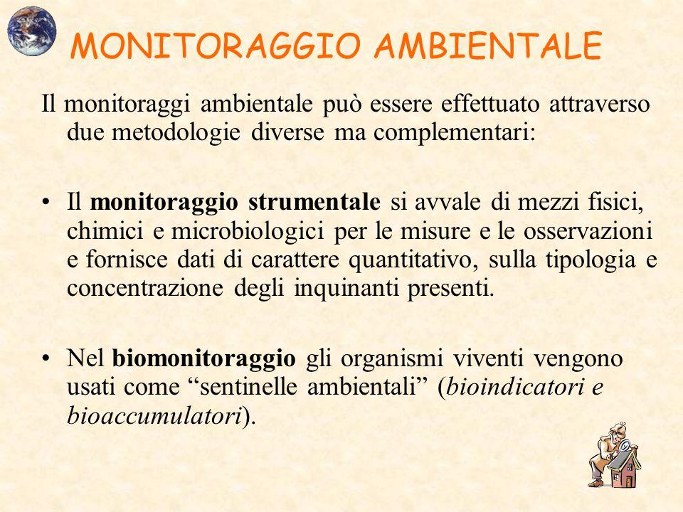 MONITORAGGIO AMBIENTALE Il monitoraggi ambientale può essere effettuato attraverso due metodologie diverse ma complementari: Il monitoraggio strumenta