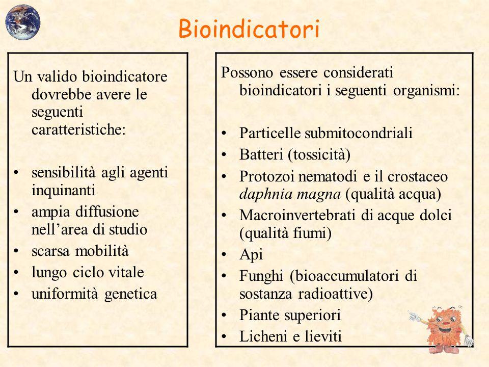 Bioindicatori Un valido bioindicatore dovrebbe avere le seguenti caratteristiche: sensibilità agli agenti inquinanti ampia diffusione nell'area di stu