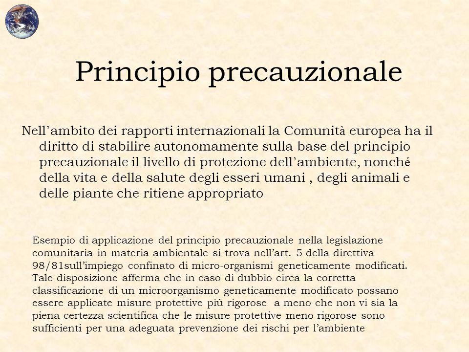 Principio precauzionale Nell ' ambito dei rapporti internazionali la Comunit à europea ha il diritto di stabilire autonomamente sulla base del princip