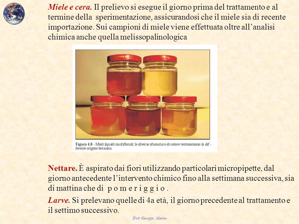 Miele e cera. Il prelievo si esegue il giorno prima del trattamento e al termine della sperimentazione, assicurandosi che il miele sia di recente impo