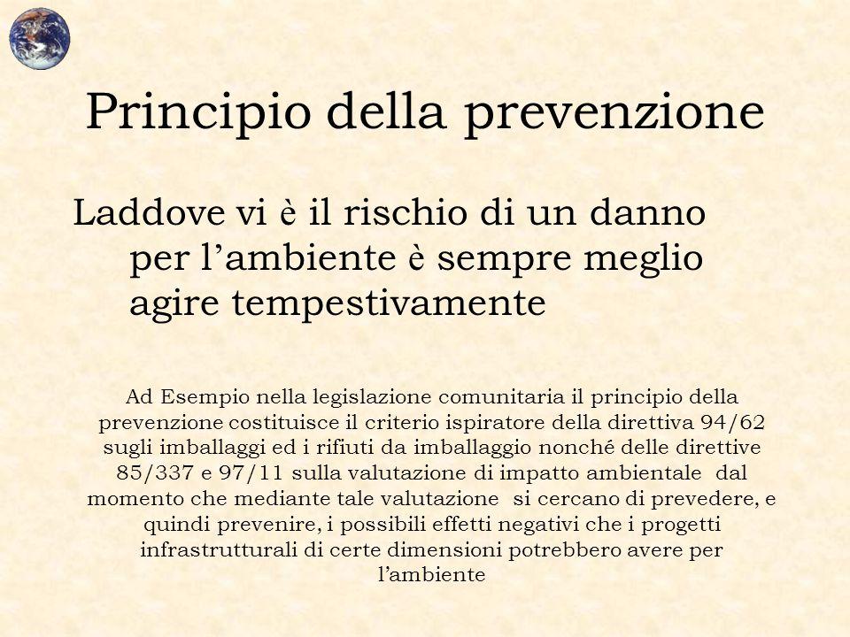 Principio della prevenzione Laddove vi è il rischio di un danno per l ' ambiente è sempre meglio agire tempestivamente Ad Esempio nella legislazione c