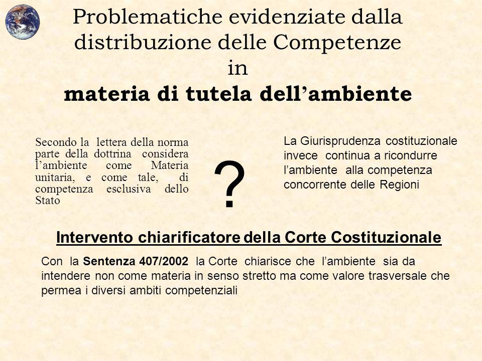 Problematiche evidenziate dalla distribuzione delle Competenze in materia di tutela dell ' ambiente Secondo la lettera della norma parte della dottrin