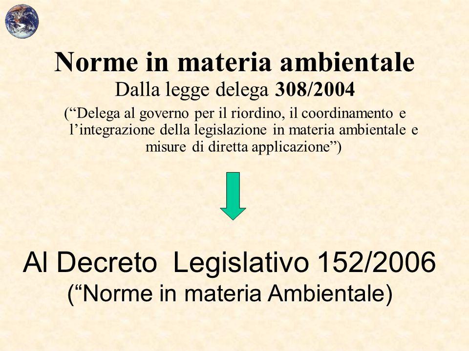 """Norme in materia ambientale Dalla legge delega 308/2004 (""""Delega al governo per il riordino, il coordinamento e l'integrazione della legislazione in m"""