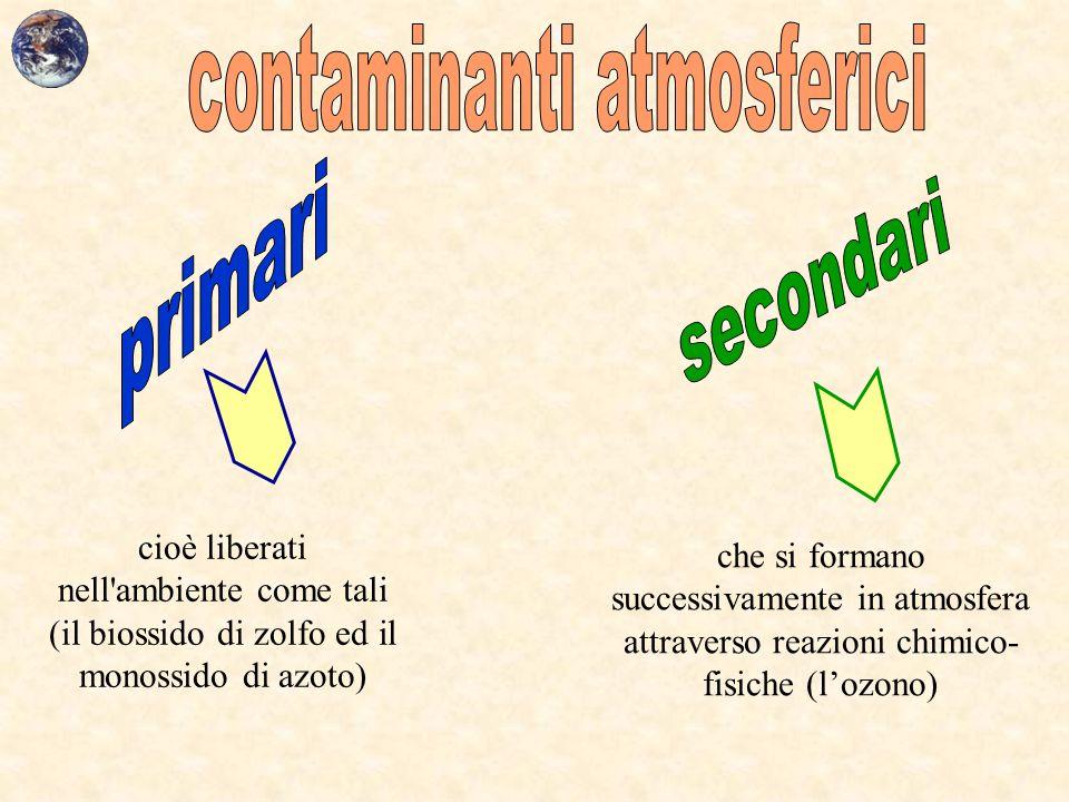 cioè liberati nell'ambiente come tali (il biossido di zolfo ed il monossido di azoto) che si formano successivamente in atmosfera attraverso reazioni