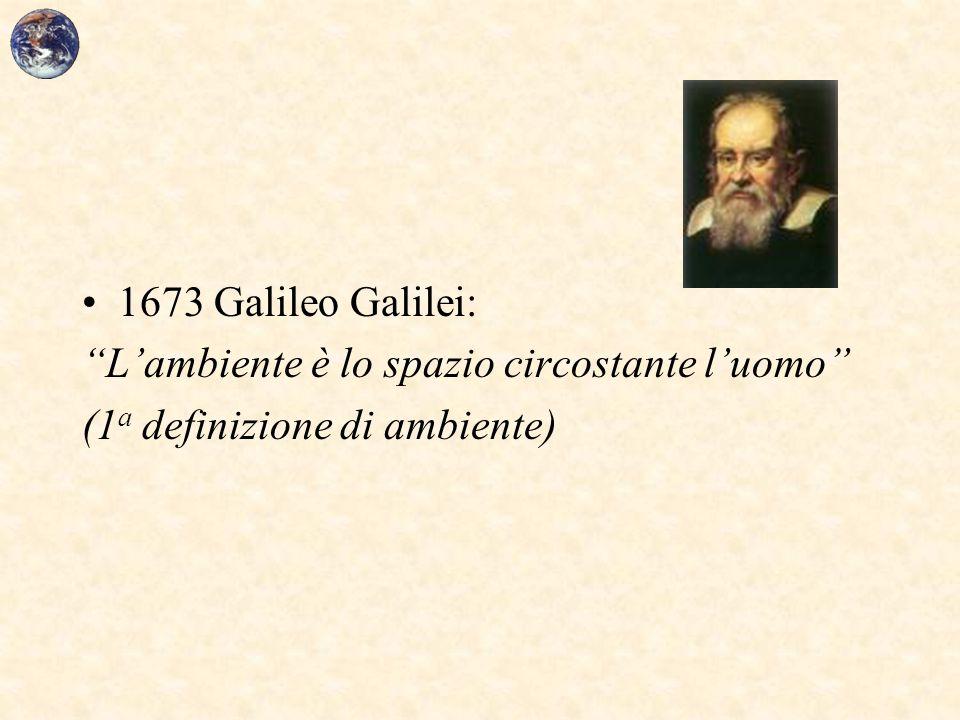 """1673 Galileo Galilei: """"L'ambiente è lo spazio circostante l'uomo"""" (1 a definizione di ambiente)"""