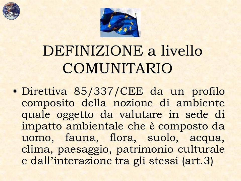 DEFINIZIONE a livello COMUNITARIO Direttiva 85/337/CEE da un profilo composito della nozione di ambiente quale oggetto da valutare in sede di impatto