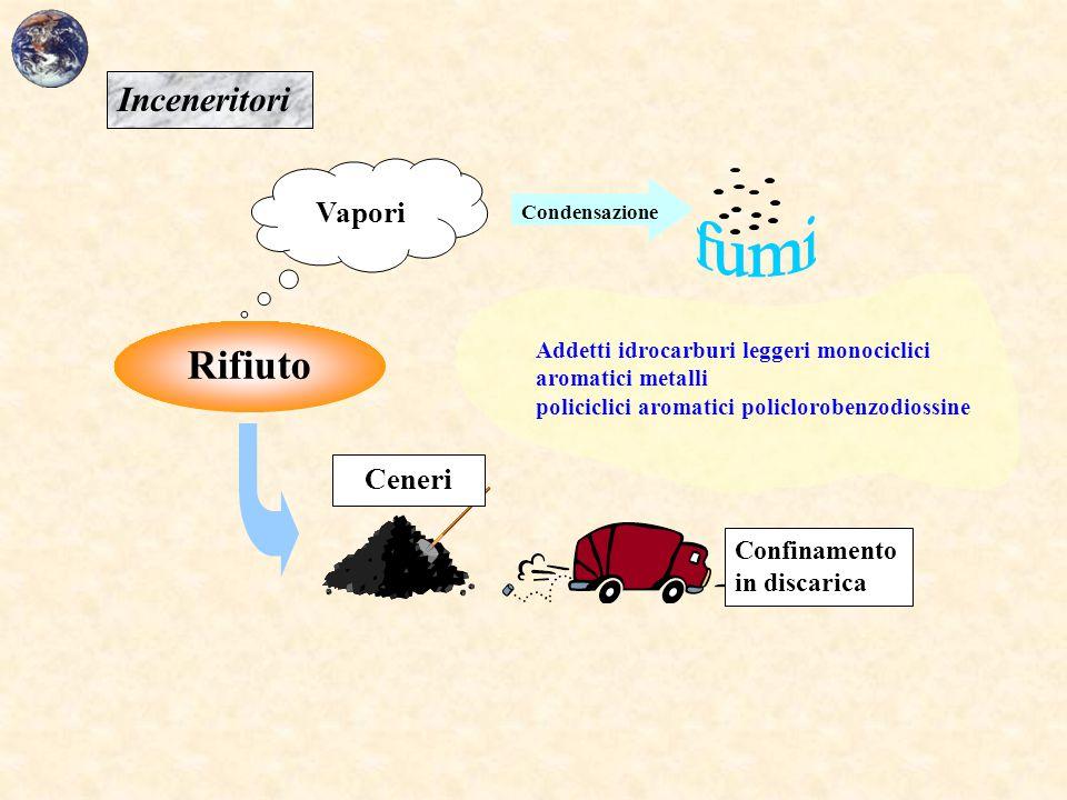 Rifiuto Vapori Ceneri Condensazione Confinamento in discarica Addetti idrocarburi leggeri monociclici aromatici metalli policiclici aromatici policlor