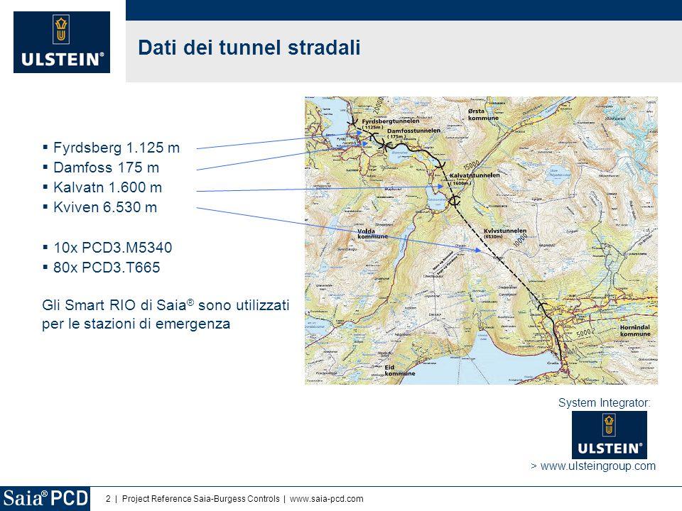 2 | Project Reference Saia-Burgess Controls | www.saia-pcd.com  Fyrdsberg 1.125 m  Damfoss 175 m  Kalvatn 1.600 m  Kviven 6.530 m  10x PCD3.M5340  80x PCD3.T665 Gli Smart RIO di Saia ® sono utilizzati per le stazioni di emergenza Dati dei tunnel stradali > www.ulsteingroup.com System Integrator: