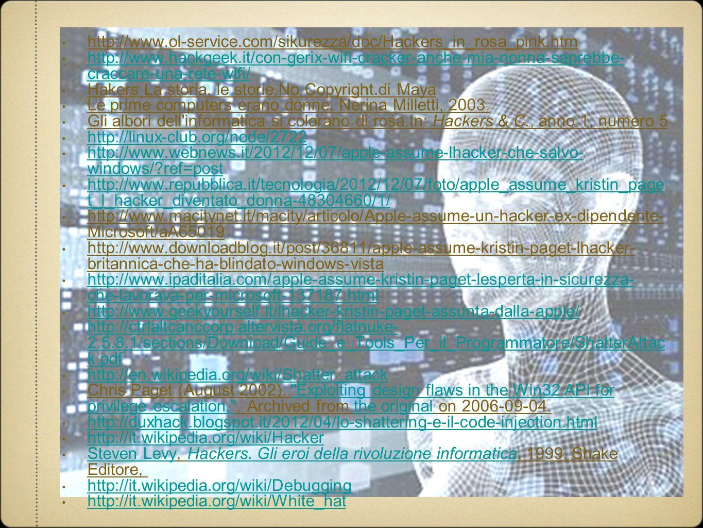 http://www.ol-service.com/sikurezza/doc/Hackers_in_rosa_pink.htm http://www.hackgeek.it/con-gerix-wifi-cracker-anche-mia-nonna-saprebbe- craccare-una-rete-wifi/ http://www.hackgeek.it/con-gerix-wifi-cracker-anche-mia-nonna-saprebbe- craccare-una-rete-wifi/ Hakers La storia, le storie.No Copyright.di Maya Le prime computers erano donne.