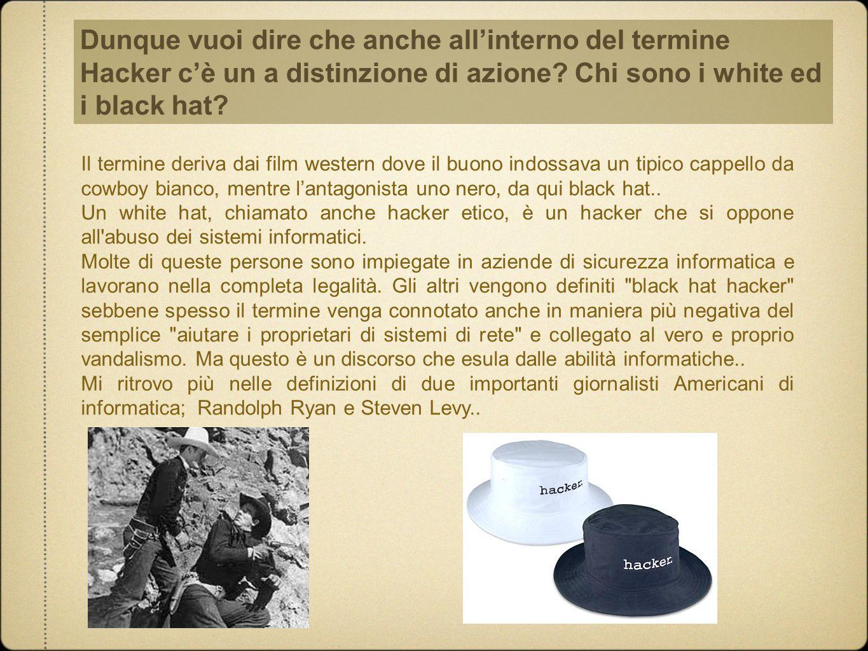 Dunque vuoi dire che anche all'interno del termine Hacker c'è un a distinzione di azione? Chi sono i white ed i black hat? Il termine deriva dai film