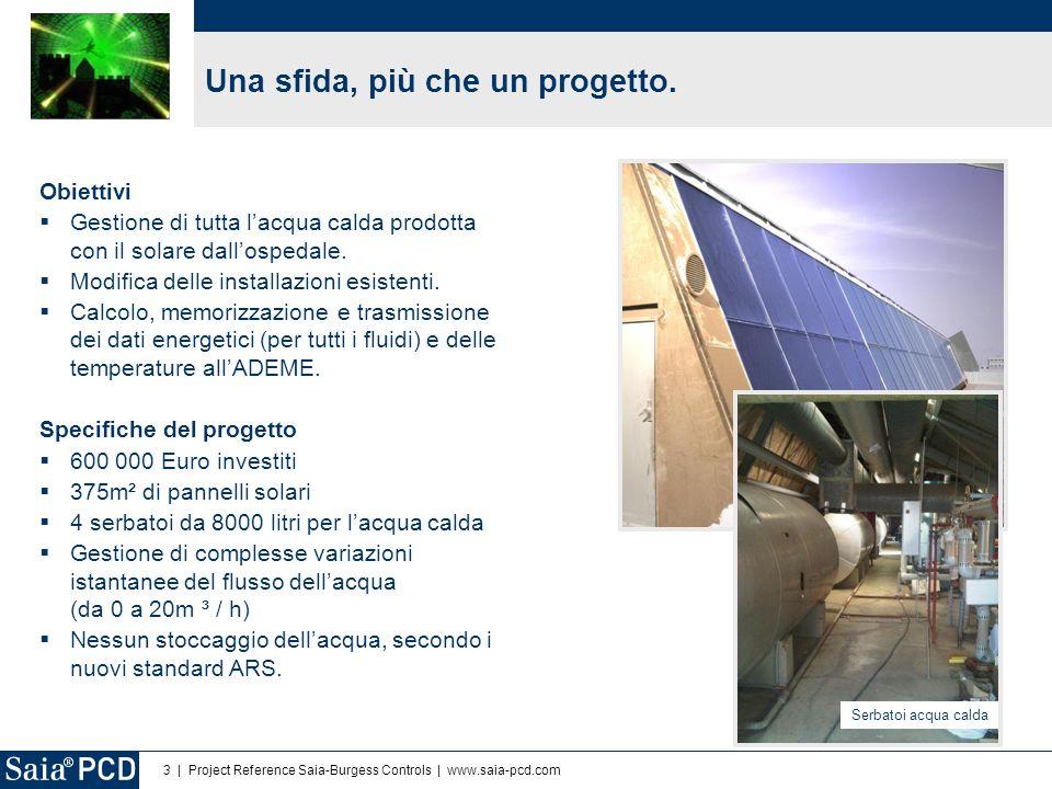 3 | Project Reference Saia-Burgess Controls | www.saia-pcd.com Obiettivi  Gestione di tutta l'acqua calda prodotta con il solare dall'ospedale.  Mod