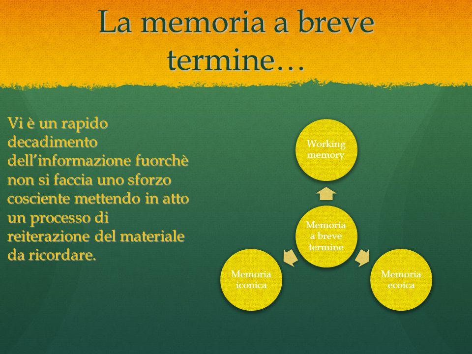 La memoria a breve termine… Memoria a breve termine Working memory Memoria ecoica Memoria iconica Vi è un rapido decadimento dell'informazione fuorchè