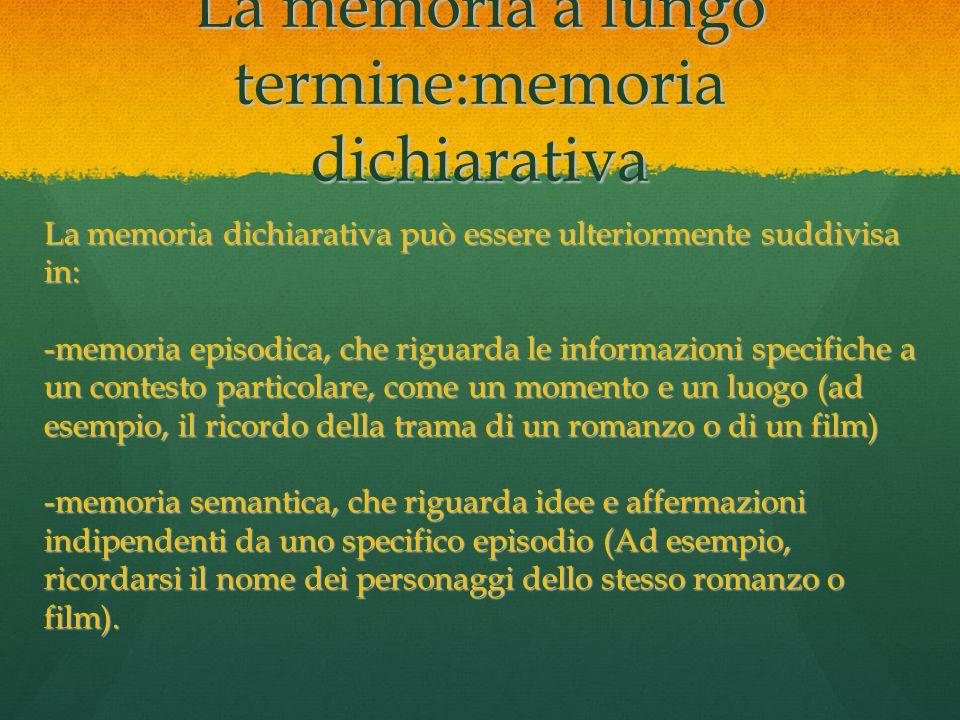 La memoria a lungo termine:memoria dichiarativa La memoria dichiarativa può essere ulteriormente suddivisa in: -memoria episodica, che riguarda le inf