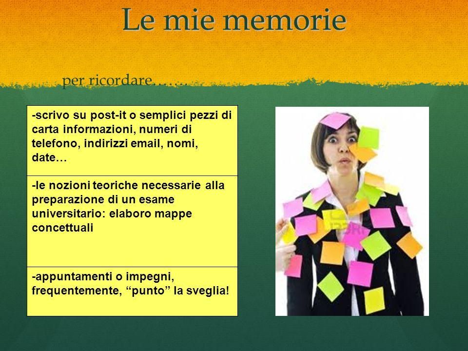 Le mie memorie -scrivo su post-it o semplici pezzi di carta informazioni, numeri di telefono, indirizzi email, nomi, date… -le nozioni teoriche necess