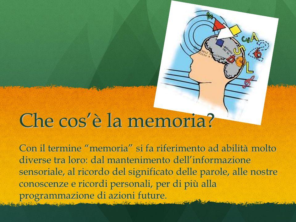 """Con il termine """"memoria"""" si fa riferimento ad abilità molto diverse tra loro: dal mantenimento dell'informazione sensoriale, al ricordo del significat"""