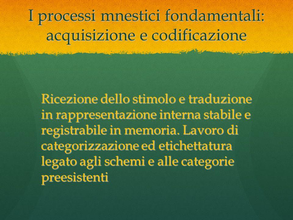 I processi mnestici fondamentali: acquisizione e codificazione Ricezione dello stimolo e traduzione in rappresentazione interna stabile e registrabile