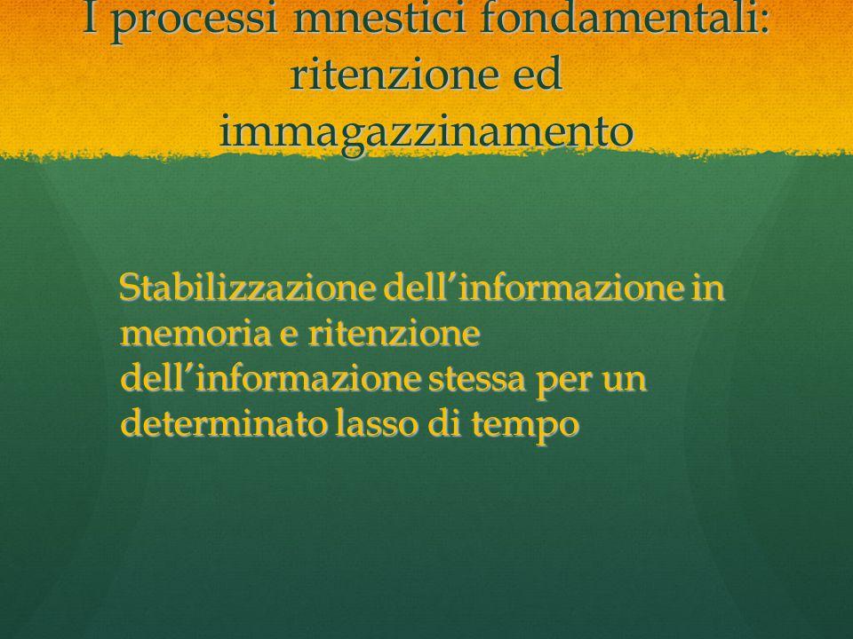 I processi mnestici fondamentali: ritenzione ed immagazzinamento Stabilizzazione dell'informazione in memoria e ritenzione dell'informazione stessa pe