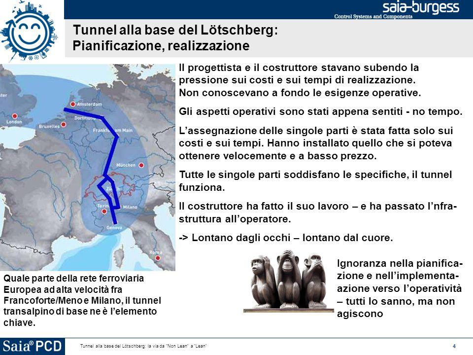 4 Tunnel alla base del Lötschberg: la via da Non Lean a Lean Tunnel alla base del Lötschberg: Pianificazione, realizzazione Quale parte della rete ferroviaria Europea ad alta velocità fra Francoforte/Meno e Milano, il tunnel transalpino di base ne è l'elemento chiave.