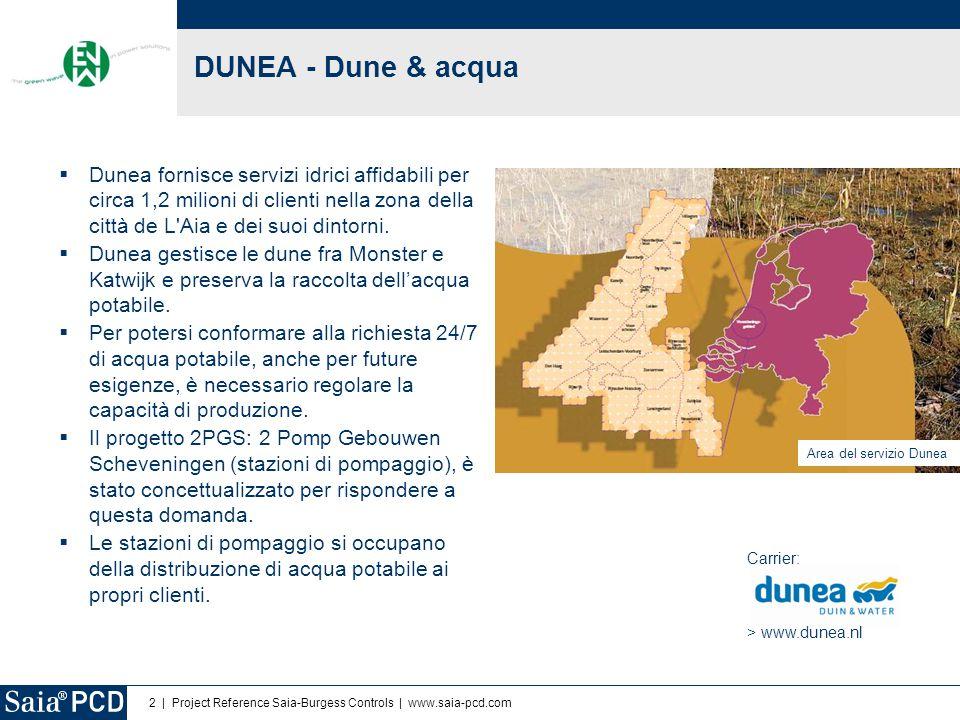 2 | Project Reference Saia-Burgess Controls | www.saia-pcd.com  Dunea fornisce servizi idrici affidabili per circa 1,2 milioni di clienti nella zona