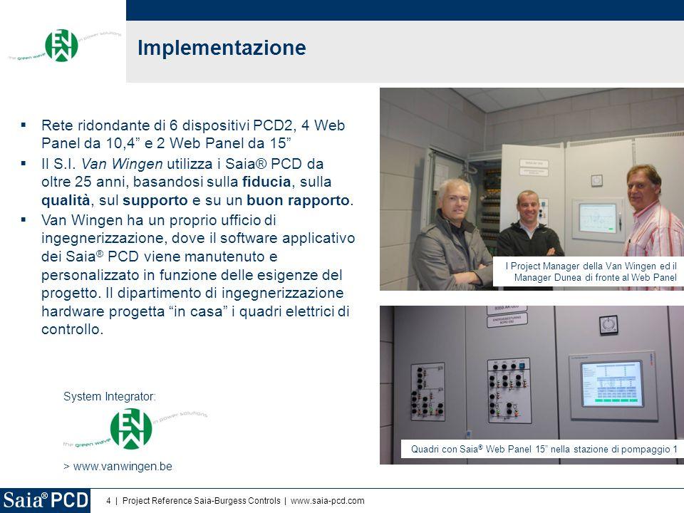 5   Project Reference Saia-Burgess Controls   www.saia-pcd.com Uso del sistema Saia-PCD Controllo dei gruppi elettrogeni e sistema energia  Gruppi elettrogeni: 4x Saia ® PCD2.M5540  Stazioni di pompaggio: 2x Saia ® PCD2.M5540 Comunicazione fra PLC: Ethernet Comunicazione con il campo e monitoraggio dell'energia: Profibus Rete multi-master: ridondante Ingegnerizzazione: PG5 e Web Editor Advanced HMI basato sul concetto Saia ® S-Web  Web server integrato nei PCD2r, progetto web memorizzato su scheda flash da 4MB  Comunicazione Ethernet fra i PCD2 ed i Web Panel Web panel (touch screen) utilizzati nel progetto  4x Saia ® PCD7.D5100TL 10,4 Windows CE  2x Saia ® PCD7.D6150TL 15 Windows eXP Data logging  Formato csv - Excel compatibile, generato e memorizzato nei PCD2  1000 eventi sono anche bufferizzati nei pannelli, accessibili via USB, es.