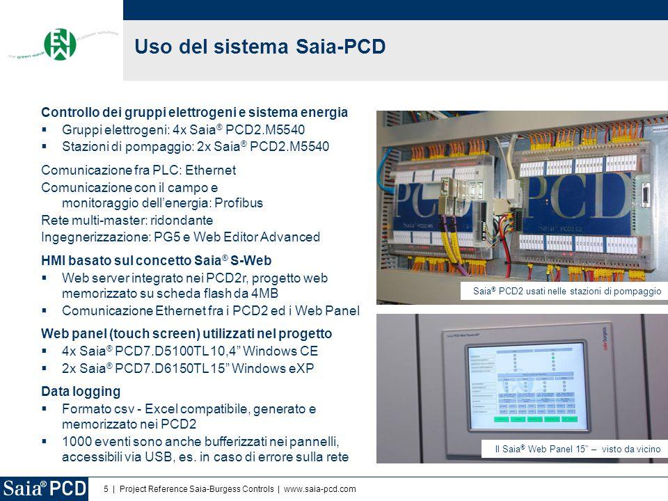 5 | Project Reference Saia-Burgess Controls | www.saia-pcd.com Uso del sistema Saia-PCD Controllo dei gruppi elettrogeni e sistema energia  Gruppi el