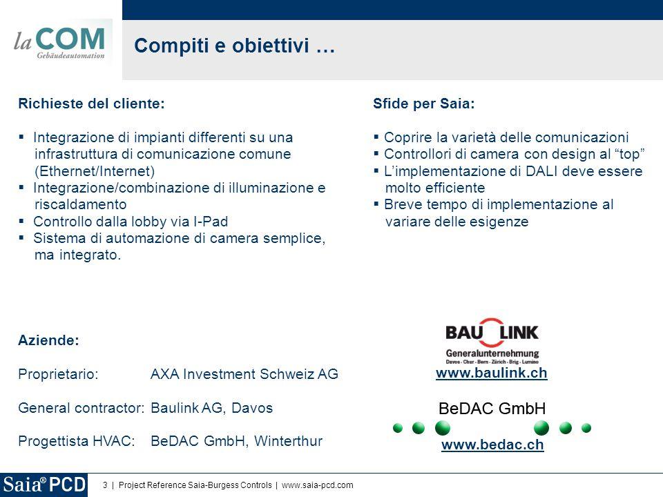 4 | Project Reference Saia-Burgess Controls | www.saia-pcd.com Topologia del bus e implementazione Prodotti Saia utilizzati: 15 x PCD3.M3330 (HVAC e luci) 148 x PCD7.L603 (Automazione di camera) 148 x PCD7.L645W (Unità operatore) Ca.
