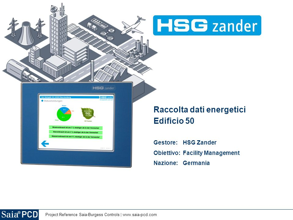 Project Reference Saia-Burgess Controls | www.saia-pcd.com Raccolta dati energetici Edificio 50 Gestore: HSG Zander Obiettivo: Facility Management Nazione:Germania