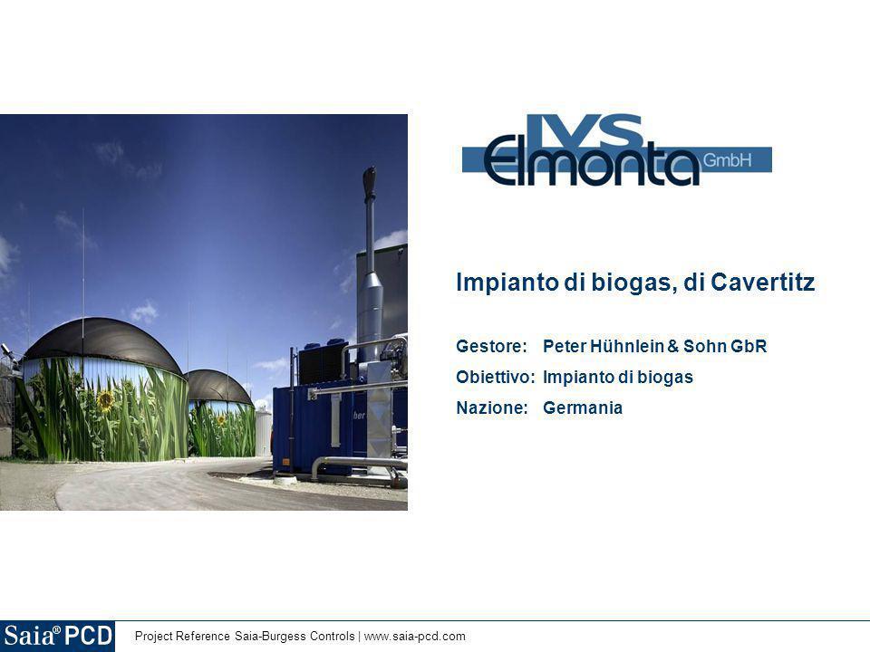 Project Reference Saia-Burgess Controls | www.saia-pcd.com Impianto di biogas, di Cavertitz Gestore: Peter Hühnlein & Sohn GbR Obiettivo: Impianto di