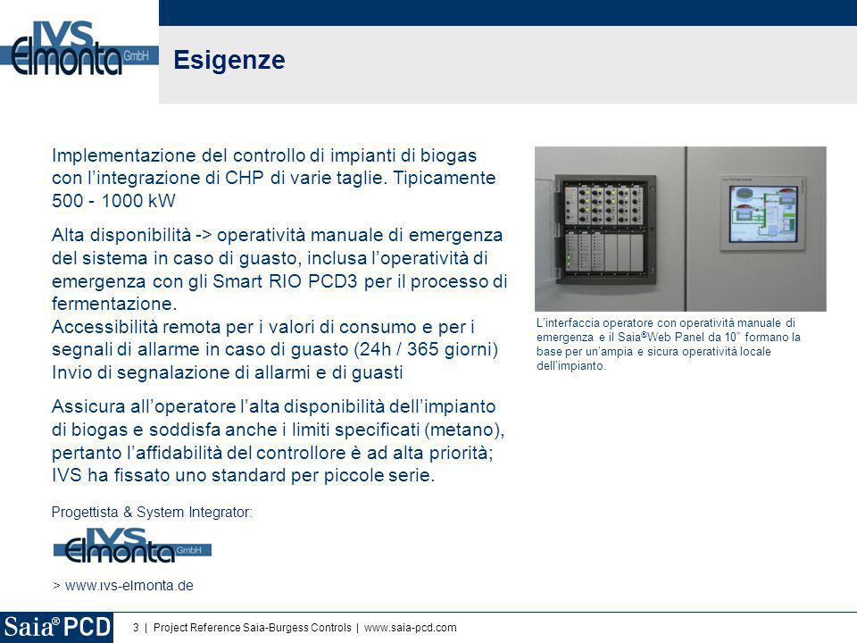 3 | Project Reference Saia-Burgess Controls | www.saia-pcd.com Esigenze Implementazione del controllo di impianti di biogas con l'integrazione di CHP di varie taglie.