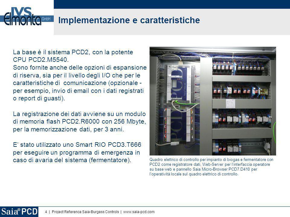 4 | Project Reference Saia-Burgess Controls | www.saia-pcd.com Implementazione e caratteristiche La base è il sistema PCD2, con la potente CPU PCD2.M5