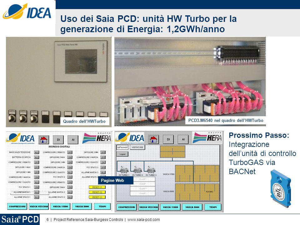 6 | Project Reference Saia-Burgess Controls | www.saia-pcd.com Uso dei Saia PCD: unità HW Turbo per la generazione di Energia: 1,2GWh/anno PCD3.M6540