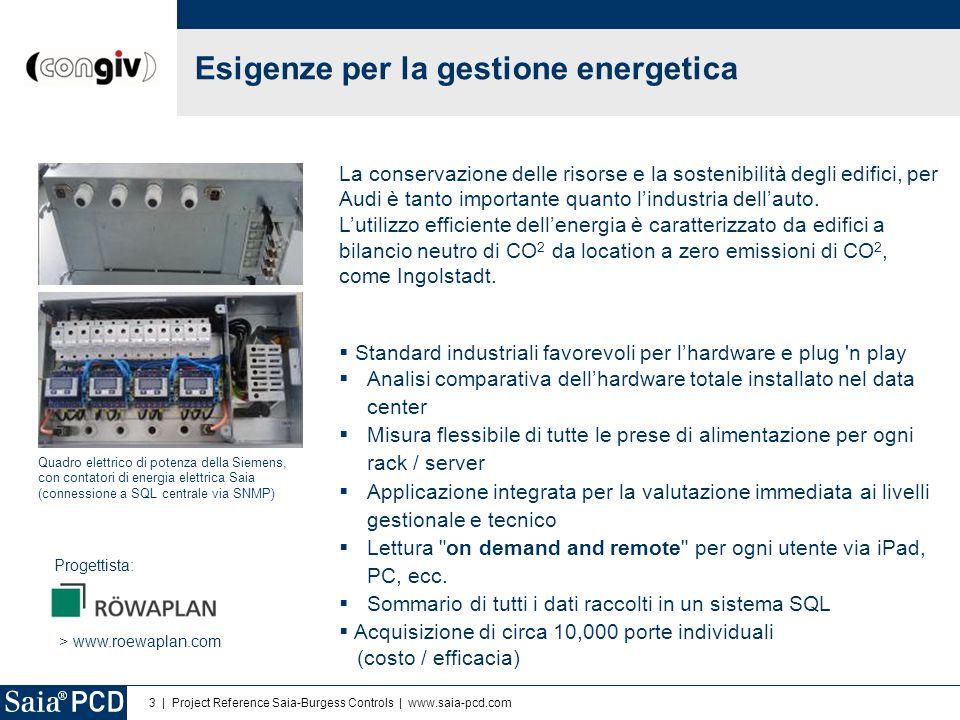 3 | Project Reference Saia-Burgess Controls | www.saia-pcd.com Quadro elettrico di potenza della Siemens, con contatori di energia elettrica Saia (con