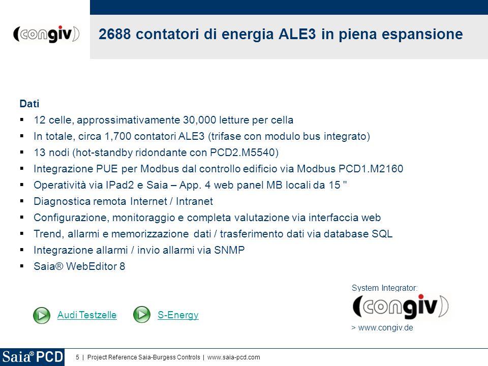 5 | Project Reference Saia-Burgess Controls | www.saia-pcd.com Dati  12 celle, approssimativamente 30,000 letture per cella  In totale, circa 1,700