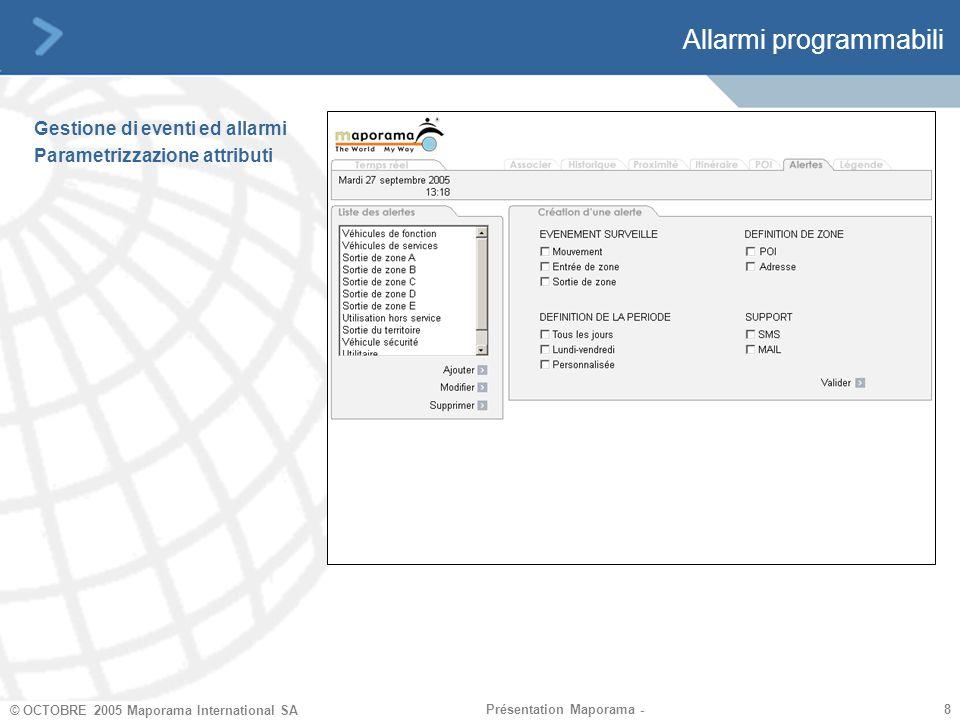8 8 © OCTOBRE 2005 Maporama International SA Présentation Maporama - Allarmi programmabili Gestione di eventi ed allarmi Parametrizzazione attributi