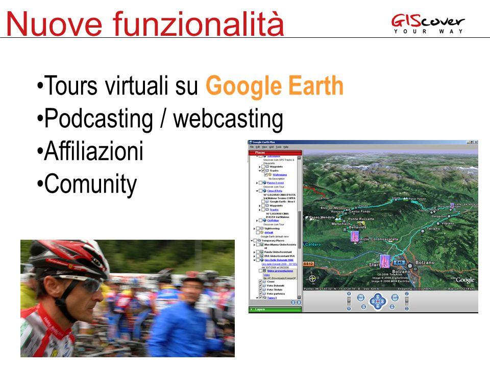 Nuove funzionalità Tours virtuali su Google Earth Podcasting / webcasting Affiliazioni Comunity