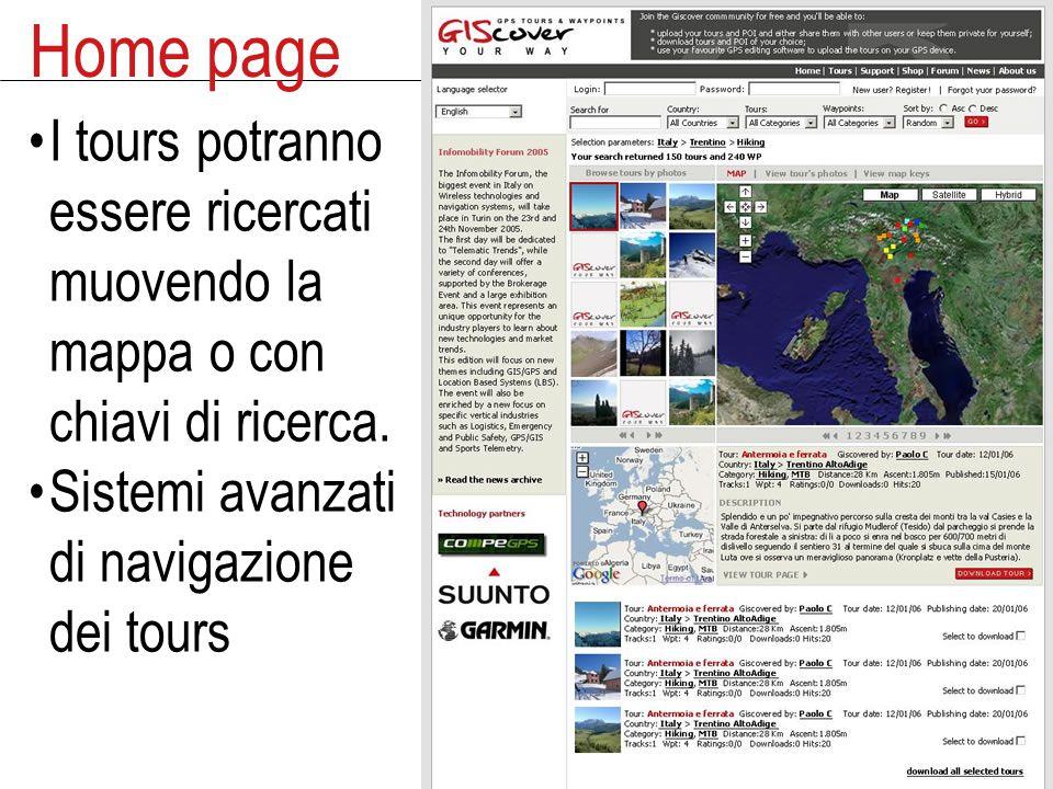 Home page I tours potranno essere ricercati muovendo la mappa o con chiavi di ricerca.
