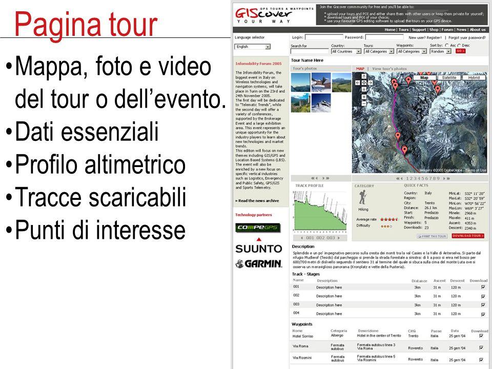 Pagina tour Mappa, foto e video del tour o dell'evento.
