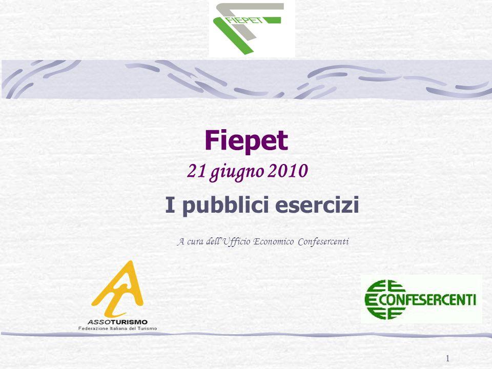 1 Fiepet 21 giugno 2010 I pubblici esercizi A cura dell'Ufficio Economico Confesercenti