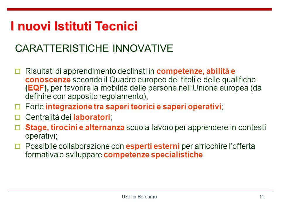 USP di Bergamo11 CARATTERISTICHE INNOVATIVE  Risultati di apprendimento declinati in competenze, abilità e conoscenze secondo il Quadro europeo dei titoli e delle qualifiche (EQF), per favorire la mobilità delle persone nell'Unione europea (da definire con apposito regolamento);  Forte integrazione tra saperi teorici e saperi operativi;  Centralità dei laboratori;  Stage, tirocini e alternanza scuola-lavoro per apprendere in contesti operativi;  Possibile collaborazione con esperti esterni per arricchire l'offerta formativa e sviluppare competenze specialistiche I nuovi Istituti Tecnici
