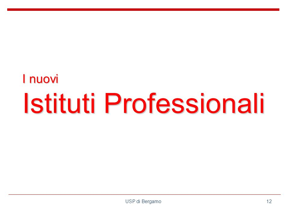 USP di Bergamo12 I nuovi Istituti Professionali