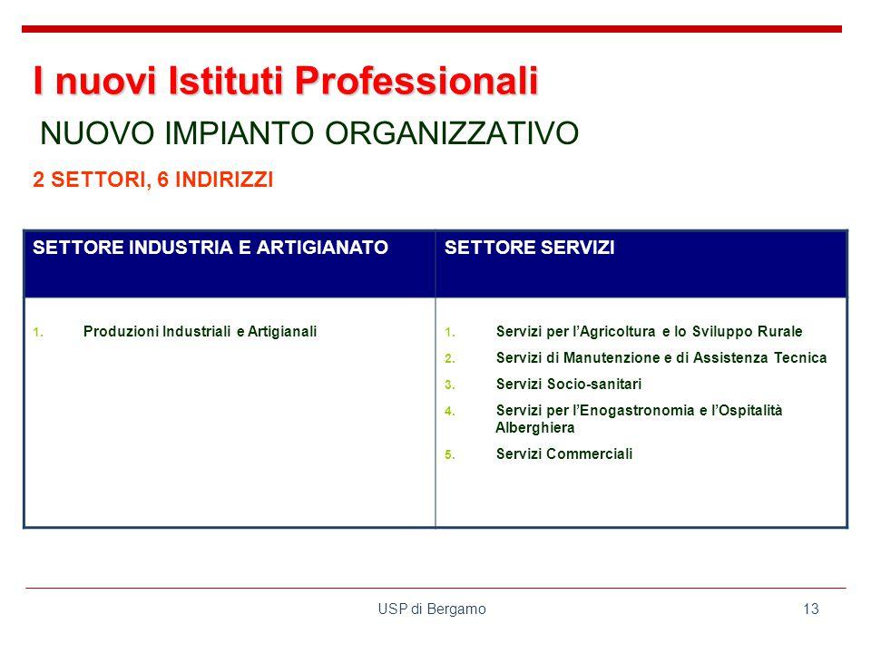 USP di Bergamo13 NUOVO IMPIANTO ORGANIZZATIVO SETTORE INDUSTRIA E ARTIGIANATOSETTORE SERVIZI 1.
