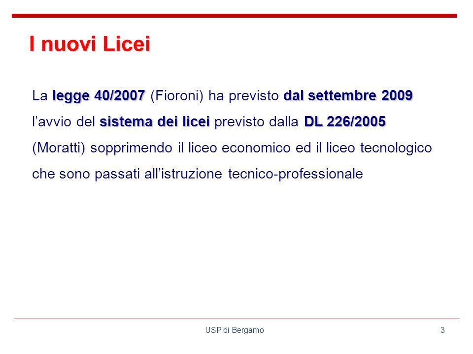 USP di Bergamo3 legge 40/2007dal settembre 2009 sistema dei liceiDL 226/2005 La legge 40/2007 (Fioroni) ha previsto dal settembre 2009 l'avvio del sistema dei licei previsto dalla DL 226/2005 (Moratti) sopprimendo il liceo economico ed il liceo tecnologico che sono passati all'istruzione tecnico-professionale I nuovi Licei