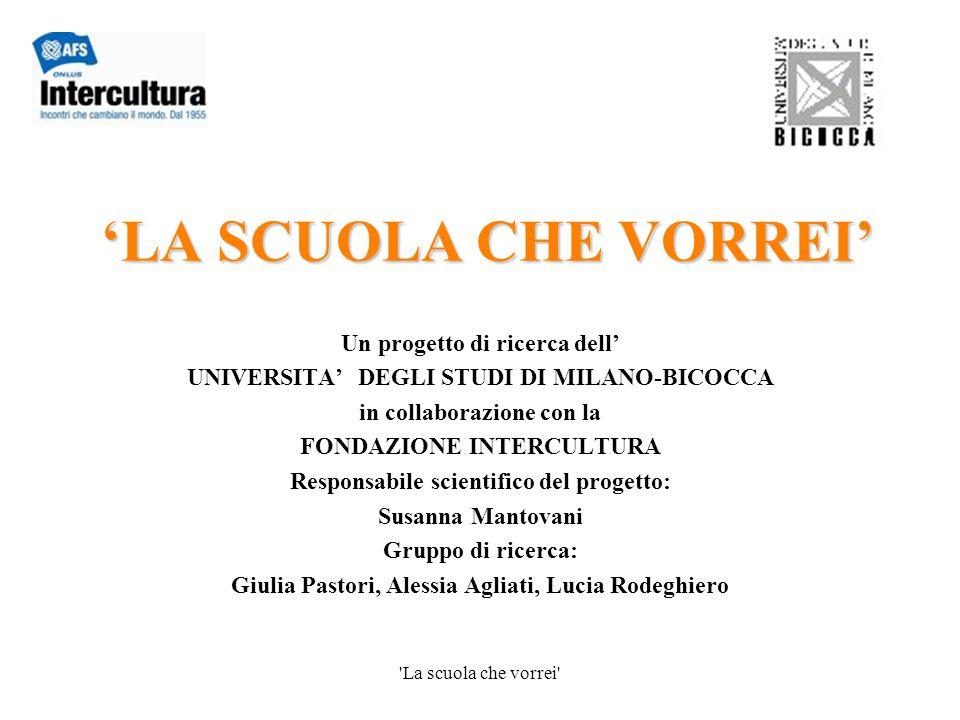 'La scuola che vorrei' 'LA SCUOLA CHE VORREI' Un progetto di ricerca dell' UNIVERSITA' DEGLI STUDI DI MILANO-BICOCCA in collaborazione con la FONDAZIO